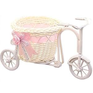 uminilife hecho a mano tejido de ratán flor cesta triciclo bicicleta soporte de flor de decoración para el hogar decoración para boda fiesta, Pink,