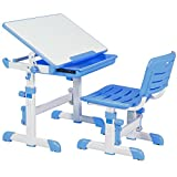Best Choice Products Height Adjustable Children's Desk and Chair Set For Kids Work Station, Study Area- Blue