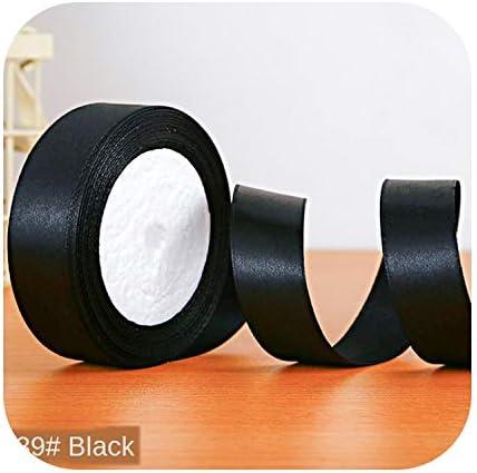 kawayi-桃 22メートル/ロールサテンリボン卸売ギフトパッキングクリスマスの装飾手作りdiyリボンロール生地(6/10/12/15/20/25 / 40mm)-black-25mm