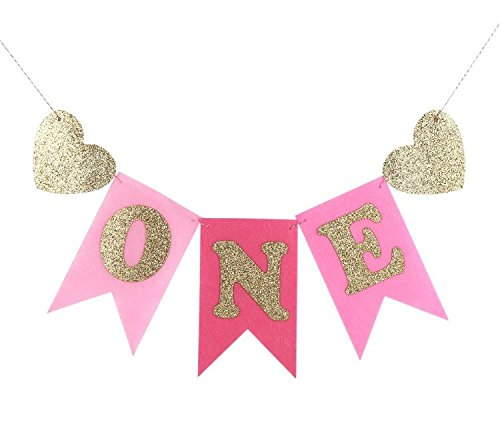 ONE Banner Pennant Happy Birthday Girl Gold and Pink Hot Pink Glitter Banner, Felt, First Birthday Decorations Burlap Highchair Decoration Banner for 1st Birthday Baby Girl, Wall Decor