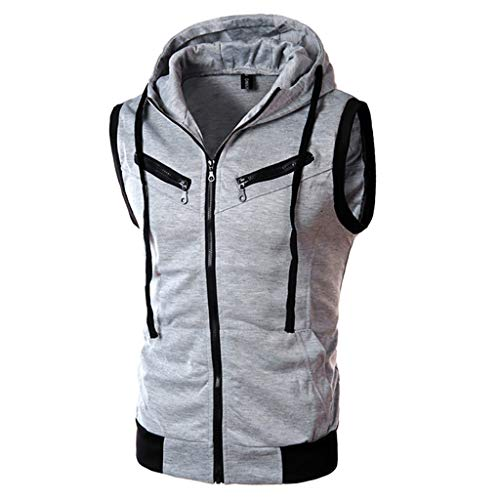 (LUCAMORE Mens Solid Hipster Metallic Zip Up Sleeveless Hooded Vest Sports T Shirt)