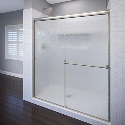 Basco Classic Sliding Shower Door, Fits 40-44 inch opening, Rain Glass, Brushed Nickel Finish