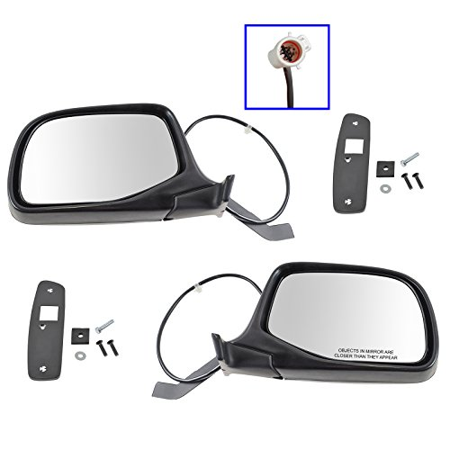 Power Side View Mirrors Chrome & Black Left & Right Pair Set for F-Series Truck (Power Mirror Truck Chrome F150)