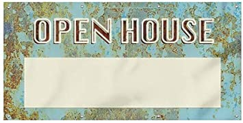 Ghost Aged Blue Wind-Resistant Outdoor Mesh Vinyl Banner 8x4 Open House CGSignLab