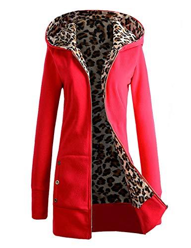 À Sweat Manteau Rouge Vestes Capuche Léopard Naliha Femmes Veste Slim Polaire Zip Up 5fwqtRtW