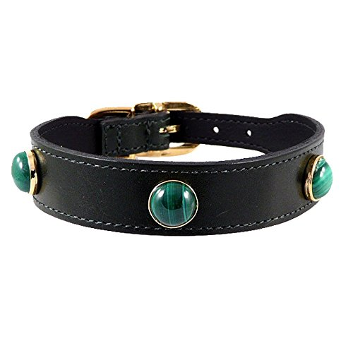 Hartman & Rose Leather Dog Collar with Malachite Semi Precious Stones - Au Natural Collection Jeweled Pet Collar Hunter Green, 8 to 10 Inch