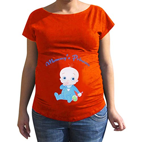 Maternity Tops Short Sleeve Plus Size Funny Cute Baby Letter Print Pregnant T Shirt Blouse for Women (L, Orange)