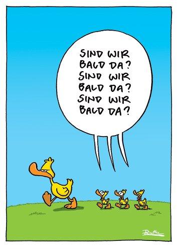 "Cartoon-Postkarte Ralph Ruthe /""Sind wir bald da?/"""