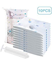 UOUNE Vacuum Storage Bags,10 Pack Reusable Storage Saver Bags-3 Jumbo + 4 Extra Large +3 Medium for Clothing Bedding Blankets, Travel Hand Pump Included