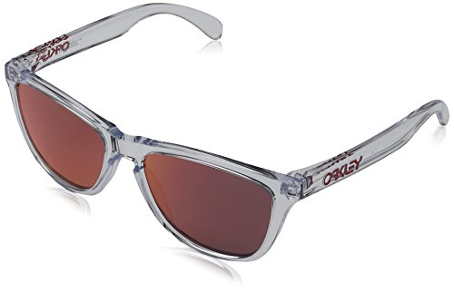 Oakley Men's OO9013 Frogskins Square Sunglasses, Polished Clear/Torch Iridium, 55 ()