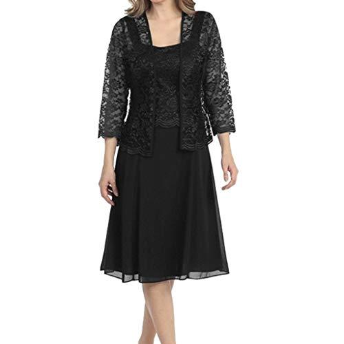 - Women's Two-Piece Lace Patchwork Cardigan Chiffon Dresses, AmyDong Long Sleeve Solid Loose Hem Casual Dress Black