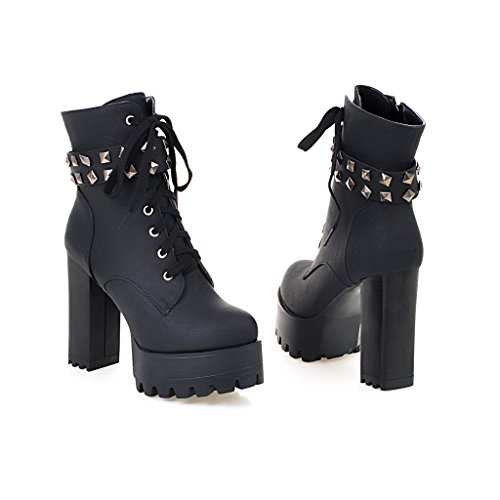 Military Boots Ankle Black3 Mid Cowboy Susanny Heel up Motorcycle Booties Lace Calf Leather Women's Buckle High aZqIz