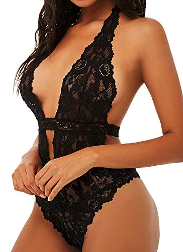 Mangopop Women One Piece Lace Bodysuit Halter Lingerie Open Back Teddy Babydoll (Black, Medium) ()