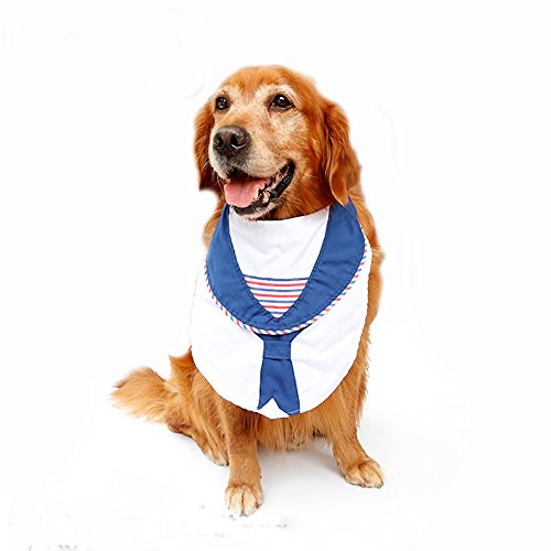 [Large Dog Costumes Bandana Sailor Style Big dogs Bowtie Neckwear Scarf Bibs for Festival Party Cosplay Pet] (Nice Sailor Costumes)