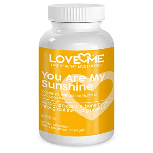 Love Me Nutrition® Launch Special- You are My Sunshine- Vitamin D3 5000 IU Without UV Sun Damage. for Healthy Bone, Heart, Muscle & Immune Support. Natural. No Artificial Ingredients. 60 Soft Gels.