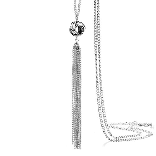 (Onnea fashion Silver Tone Lovely Knot Long Tassel Necklaces for Women(Long) )