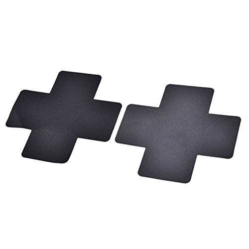 en Sexy Adhesive Nipple Covers Petals Breast Sticker Cross Shape Emptied Chest Petals for Adult Games Black ()