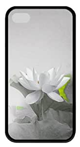 Iphone 4 4S Cases- White Waterlily TPU Rubber Silicone Case Cover for iPhone 4 and iPhone 4s - Black