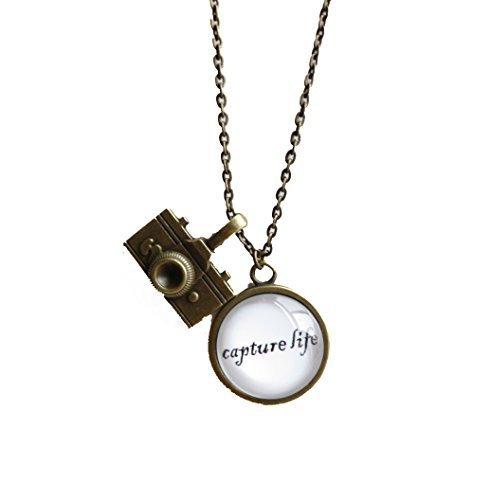 Capture Life,inspirational Quote Pendant Necklace with Camera - Camera Necklace Pendant