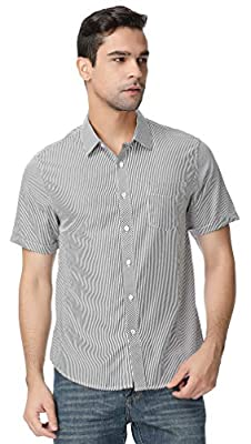 GUXITE Men's Casual Striped Shirt Plaid Dress Shirt