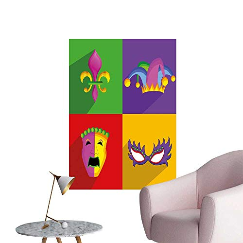 Mardi Gras Stickers Wall Murals Decals Removable Colorful Frames with Mardi Gras Icons Masks Harlequin Hat and Fleur De Lis Print Bedroom Bedside Wall Multicolor W32 x H48 for $<!--$45.00-->