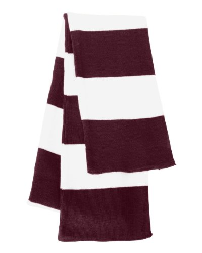 Knit Rugby - Sportsman - Rugby Striped Knit Scarf - SP02 - One Size - Maroon/ White