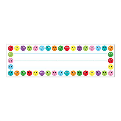 Hygloss Products Smiley Face Kids Name Plates for Desks Cubbies Lockers – 9.5 x 2-7/8 Inch, 36 Pack