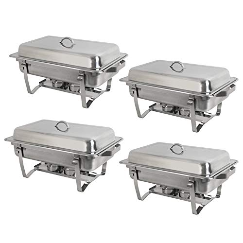 SUPER DEAL 8 Qt Stainless Steel 4 Pack Full Size Chafer Dish w/Water Pan, Food Pan, Fuel Holder and Lid For Buffet/Weddings/Parties/Banquets/Catering events (4) by SUPER DEAL (Image #2)