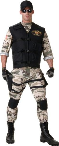 Army Men Costume - Underwraps Men's Seal Team Adult Standard, Camo/Black, Teen