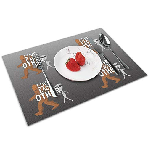 (Mipu Shangmao Love Each Other Bigfoot and Aliens Fashion Placemats Washable Placemats for Place Mats for Kitchen Table Set of 4 Table Mat (4Pcs/12''x18''))
