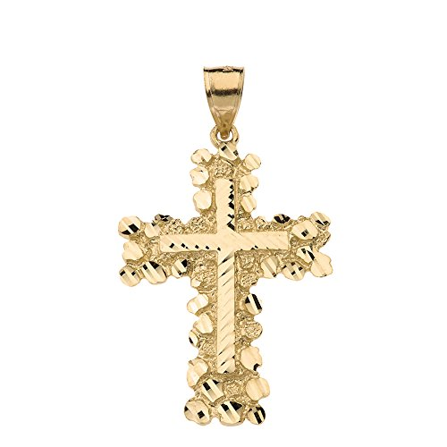 Textured 14k Yellow Gold Nugget Cross Crucifix Religious Pendant (Large) (14k Nugget Yellow Gold Pendant)