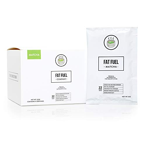 Fat Fuel Company Keto Matcha Green Tea Powder | MCT, Coconut Oil, Himalayan Salt & Grass-Fed Butter | Organic Ingredients | Energy, Focus , Detox | Perfect Drink For Low-Carb Diet | 15 Packets by The Fat Fuel Company (Image #4)