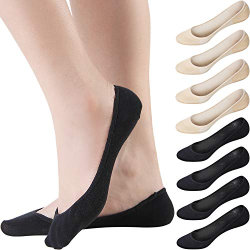Areke Womens Cotton Ultra Low Cut Hidden Liner Socks, No Show Non Slip Invisible Flats Boat Soxs 8-Pack (Assorted Size 5-8)