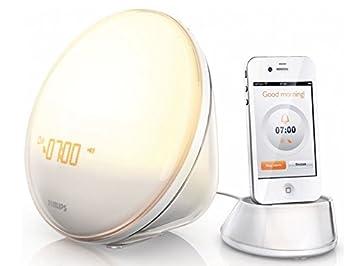 Philips Wake Up Light HF3550 White With Colored Sunrise Simulation Nice Look