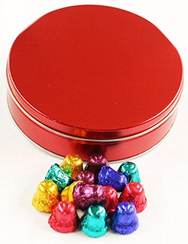 Scott's Cakes Foil Wrapped Solid Dark Chocolate Bells in a Mini Metallic Red ()