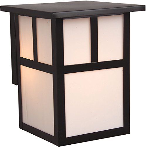 Mission Exterior Sconce - Exteriors Z1842-7 Mission 1 Light Wall Mount Light Fixture with Frosted Glass, Small, Burnished Copper
