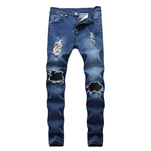 Pantaloni Demin Estivi Chiusura Fashion Distressed Ssig Slim Workwear Skinny Biker Dunkelblau Jeans Fit Uomo rpnxwqfr