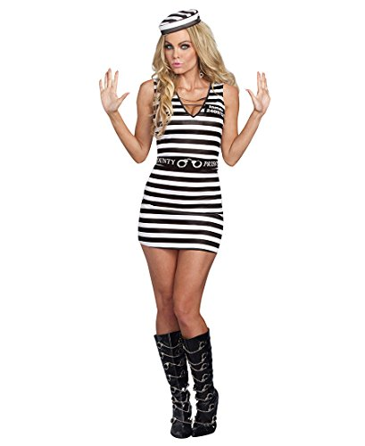 Dreamgirl A9983 Hittin' The Bars Prisoner Sexy Womens Costume - Medium - Black/White (Female Prisoner Costume)