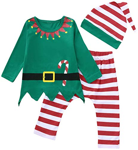 3Pcs Newborn Boys Girls Christmas Outfits Long Sleeve Tops+Stripe Pants+Hat Size 18-24Months/Tag100 (Green) -