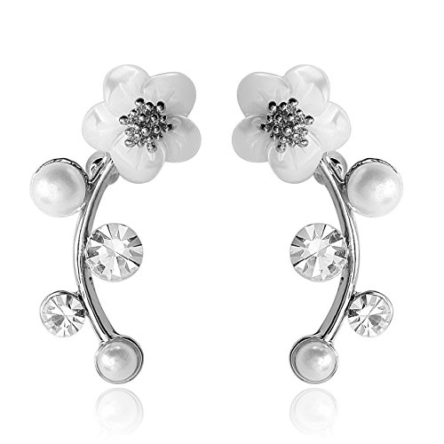 EAR VINES Silver Shell Pearl Flower Ear Vine Wrap Pin Sweep up Ear Cuffs Climber Earrings Ear Vines