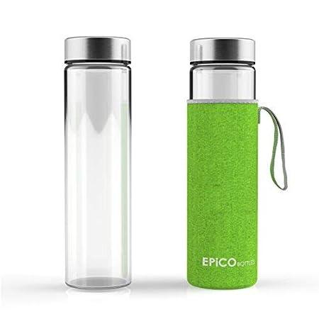/Écologique Bouteille d/'Eau en Verre R/éutilisable EPiCO Bottles Gourde en Verre 600ml sans BPA