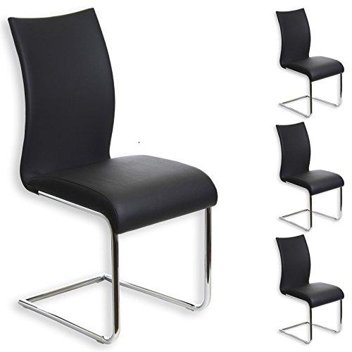 Schwingstuhl ALADINO Set mit 4 Stühlen chrom/schwarz