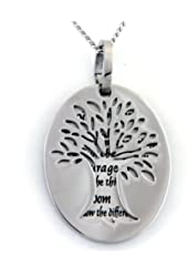 Two Piece Serenity Prayer Pendant Necklace With Tree Of Life Cut Out - Prayer Necklace - 12 Step Jewelry