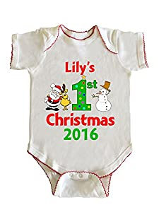 Lily's First Christmas Baby Girl Infant Bodysuit by Fashion Greek