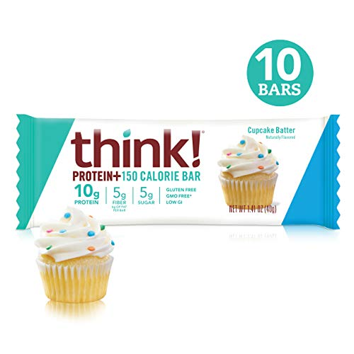 Protein +150 Calories by Think!(thinkThin) - On The Go, Low Sugar, 10g Protein, 5g Fiber, Gluten Free, Non-GMO - Cupcake Batter (10 Bars)