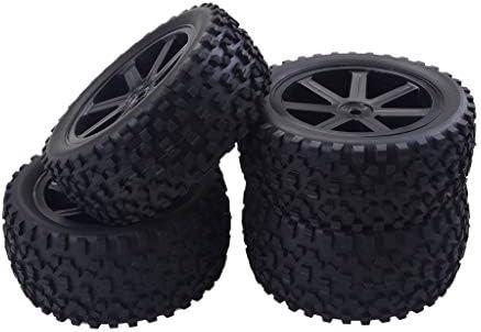 タイヤ & ホイールリム ゴム RCカー用 1/10 Traxxas HSP HPI RCカー用 交換 高耐摩耗性 - ブラック