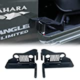 Automotive : cartaoo Foot Pegs Solid Steel Black Foot Rest Kick Panel for 2007-2018 Jeep Wrangler JK & Unlimited (2pcs in 1pack) (Grill Style)