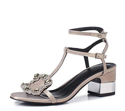 e Donne Estate Dolce Strass Americani Colore Confortevole 37 Seta Spessa Moda 1 Tacco di Dimensioni Raso Scarpe delle Sandali Europei F7qwB1ZnFx