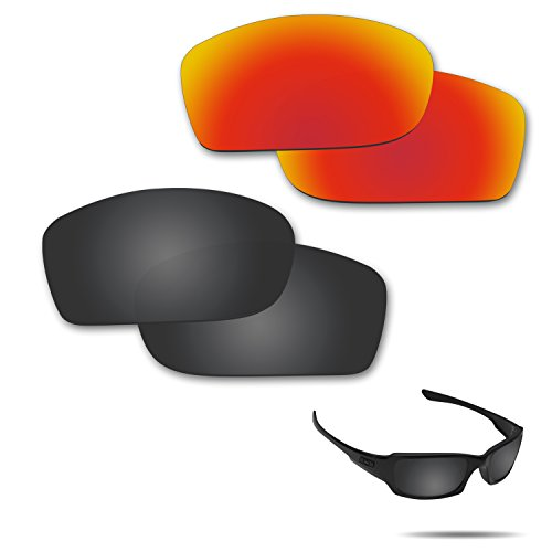 Fiskr Anti-saltwater Polarized Replacement Lenses for Oakley Fives Squared Sunglasses 2 Pairs - Replacement Lenses Oakley 5
