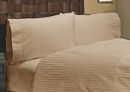British Choice Linen 100/% Cotton 3-Piece Set,800-Thread-Count Bedsheets Natural,Soft /& Silky Sateen Weave 35 Cm Deep Pocket Double,Beige//Ivory Solid 1 Fitted Sheet /& 2 Pilllowcase